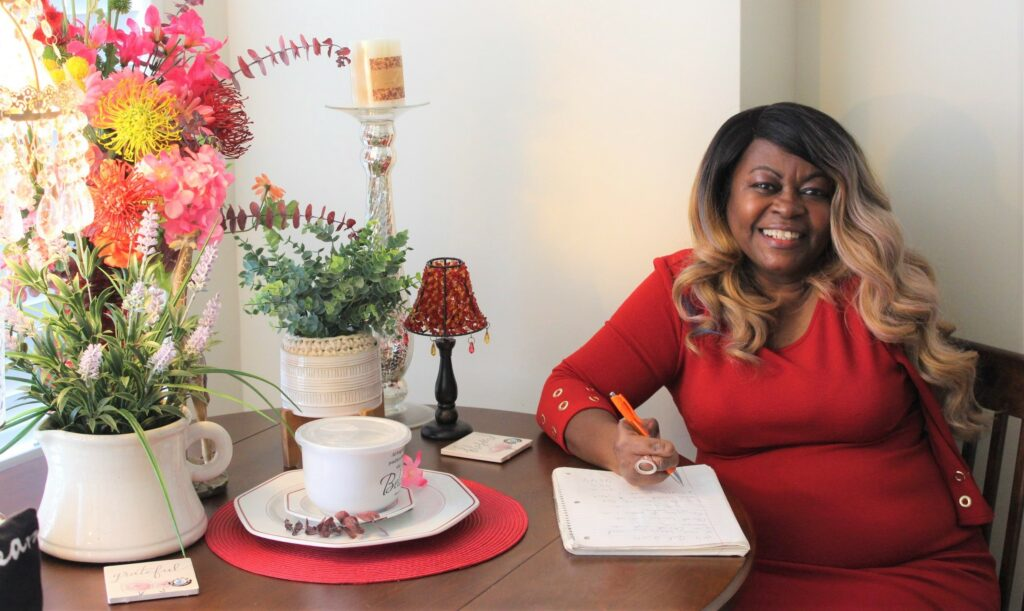 Geraldine at her writing desk.